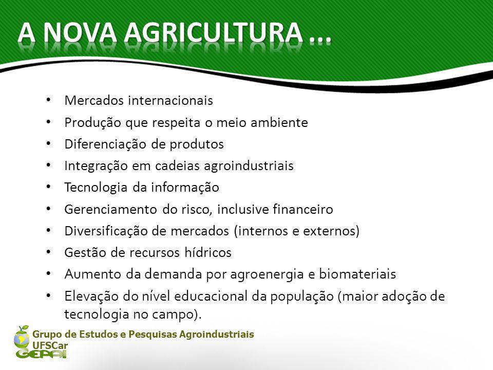 Grupo de Estudos e Pesquisas Agroindustriais UFSCar Mercados internacionais Produção que respeita o meio ambiente Diferenciação de produtos Integração