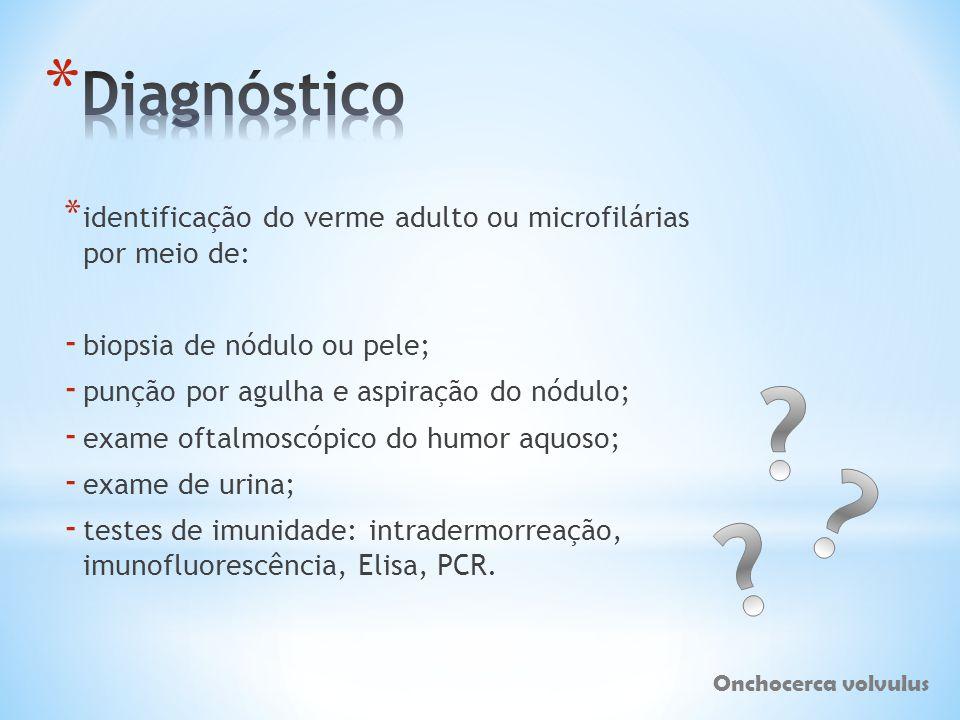 * identificação do verme adulto ou microfilárias por meio de: - biopsia de nódulo ou pele; - punção por agulha e aspiração do nódulo; - exame oftalmos