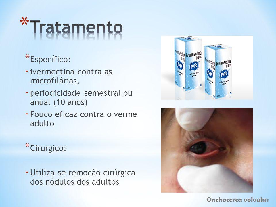 * Específico: - ivermectina contra as microfilárias, - periodicidade semestral ou anual (10 anos) - Pouco eficaz contra o verme adulto * Cirurgico: -