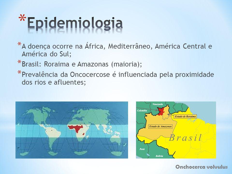 * A doença ocorre na África, Mediterrâneo, América Central e América do Sul; * Brasil: Roraima e Amazonas (maioria); * Prevalência da Oncocercose é in