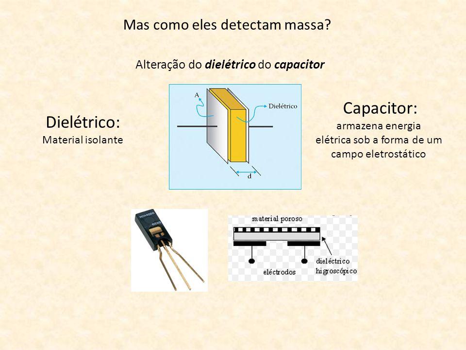 Mas como eles detectam massa? Alteração do dielétrico do capacitor Capacitor: armazena energia elétrica sob a forma de um campo eletrostático Dielétri