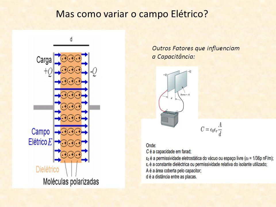 Mas como variar o campo Elétrico? Outros Fatores que influenciam a Capacitância:
