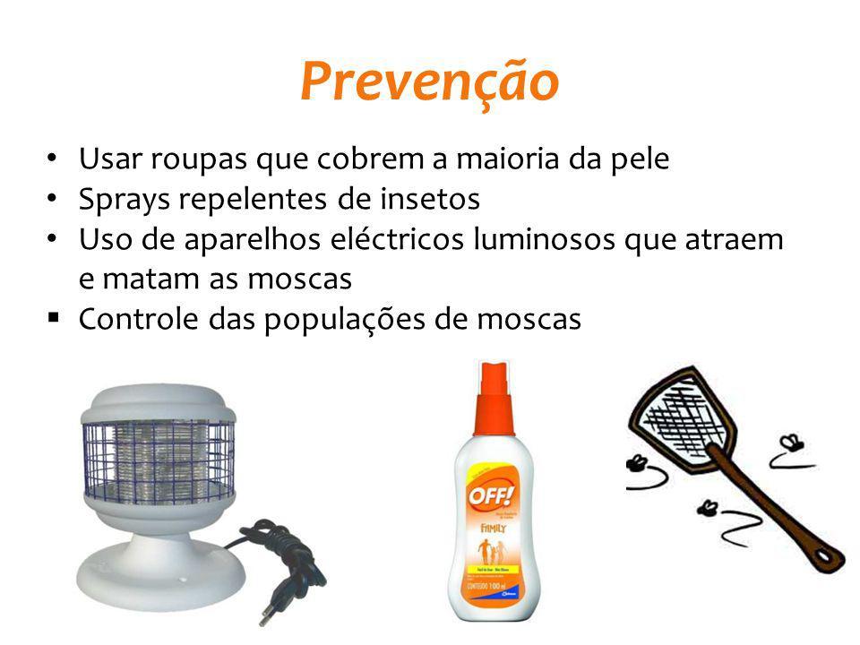Prevenção Usar roupas que cobrem a maioria da pele Sprays repelentes de insetos Uso de aparelhos eléctricos luminosos que atraem e matam as moscas Con