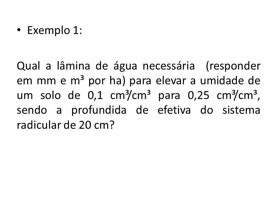 Exemplo 1: Qual a lâmina de água necessária (responder em mm e m³ por ha) para elevar a umidade de um solo de 0,1 cm³/cm³ para 0,25 cm³/cm³, sendo a profundida de efetiva do sistema radicular de 20 cm?