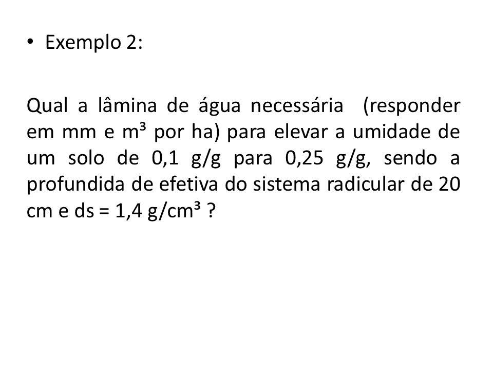 Exemplo 2: Qual a lâmina de água necessária (responder em mm e m³ por ha) para elevar a umidade de um solo de 0,1 g/g para 0,25 g/g, sendo a profundida de efetiva do sistema radicular de 20 cm e ds = 1,4 g/cm³ ?