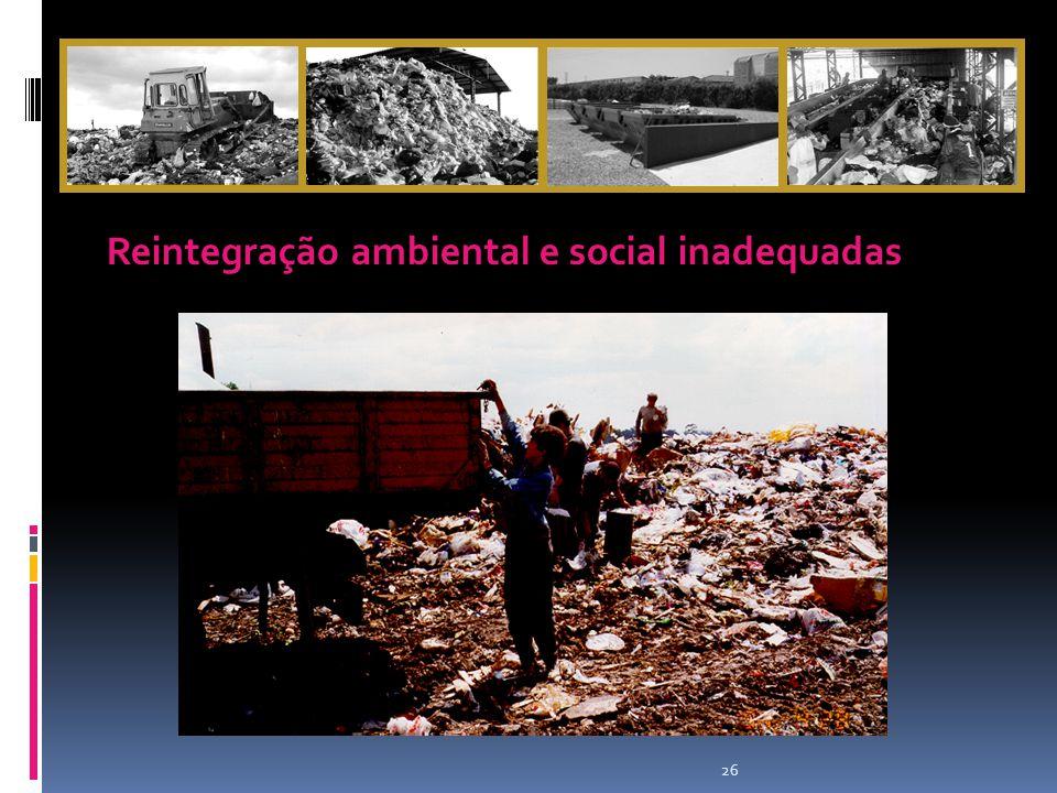 26 Reintegração ambiental e social inadequadas