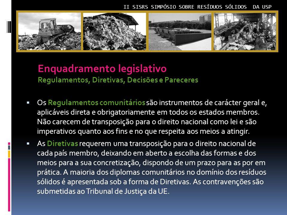 II SISRS SIMPÓSIO SOBRE RESÍDUOS SÓLIDOS DA USP Os Regulamentos comunitários são instrumentos de carácter geral e, aplicáveis direta e obrigatoriamente em todos os estados membros.