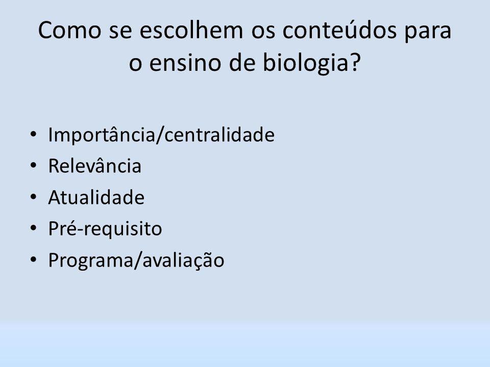 Como se escolhem os conteúdos para o ensino de biologia? Importância/centralidade Relevância Atualidade Pré-requisito Programa/avaliação