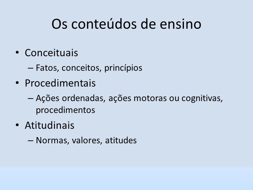 Os conteúdos de ensino Conceituais – Fatos, conceitos, princípios Procedimentais – Ações ordenadas, ações motoras ou cognitivas, procedimentos Atitudi