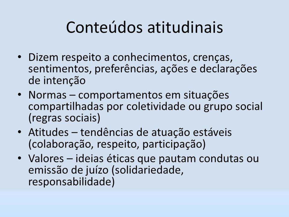 Conteúdos atitudinais Dizem respeito a conhecimentos, crenças, sentimentos, preferências, ações e declarações de intenção Normas – comportamentos em s