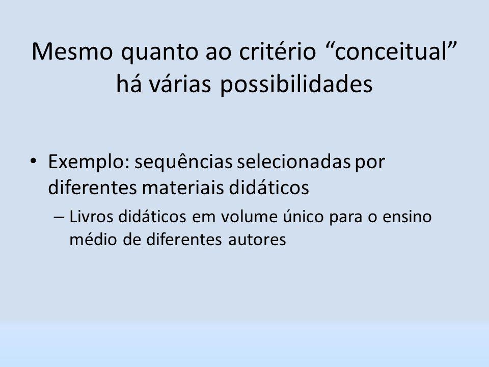 Mesmo quanto ao critério conceitual há várias possibilidades Exemplo: sequências selecionadas por diferentes materiais didáticos – Livros didáticos em