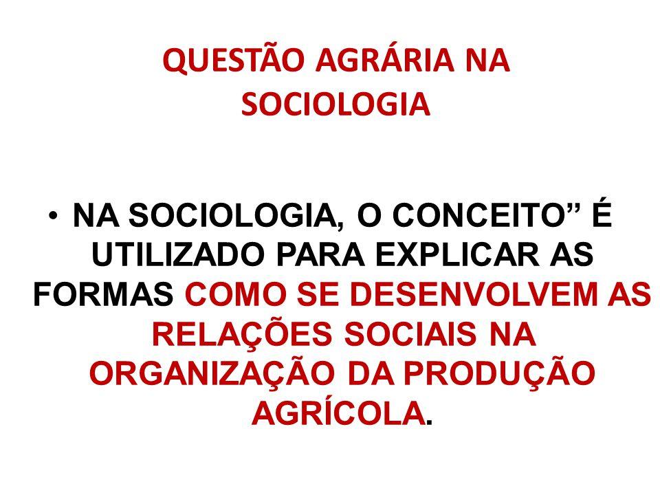 QUESTÃO AGRÁRIA NA SOCIOLOGIA NA SOCIOLOGIA, O CONCEITO É UTILIZADO PARA EXPLICAR AS FORMAS COMO SE DESENVOLVEM AS RELAÇÕES SOCIAIS NA ORGANIZAÇÃO DA