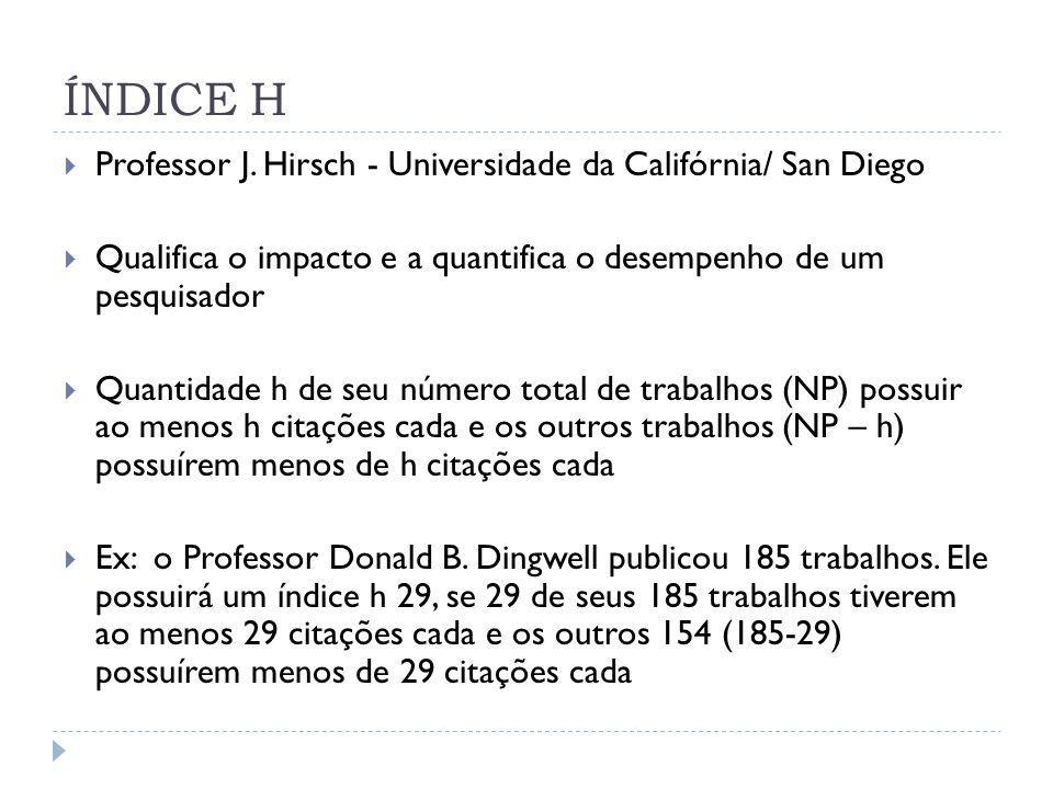 ÍNDICE H Professor J. Hirsch - Universidade da Califórnia/ San Diego Qualifica o impacto e a quantifica o desempenho de um pesquisador Quantidade h de