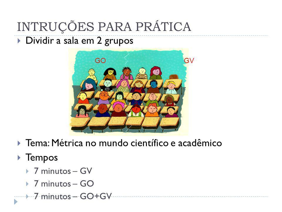 Dividir a sala em 2 grupos Tema: Métrica no mundo científico e acadêmico Tempos 7 minutos – GV 7 minutos – GO 7 minutos – GO+GV INTRUÇÕES PARA PRÁTICA