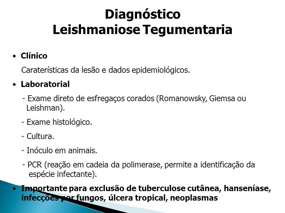 Clínico Caraterísticas da lesão e dados epidemiológicos. Laboratorial - Exame direto de esfregaços corados (Romanowsky, Giemsa ou Leishman). - Exame h