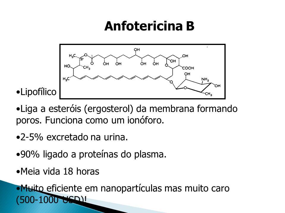 Anfotericina B Lipofílico Liga a esteróis (ergosterol) da membrana formando poros. Funciona como um ionóforo. 2-5% excretado na urina. 90% ligado a pr
