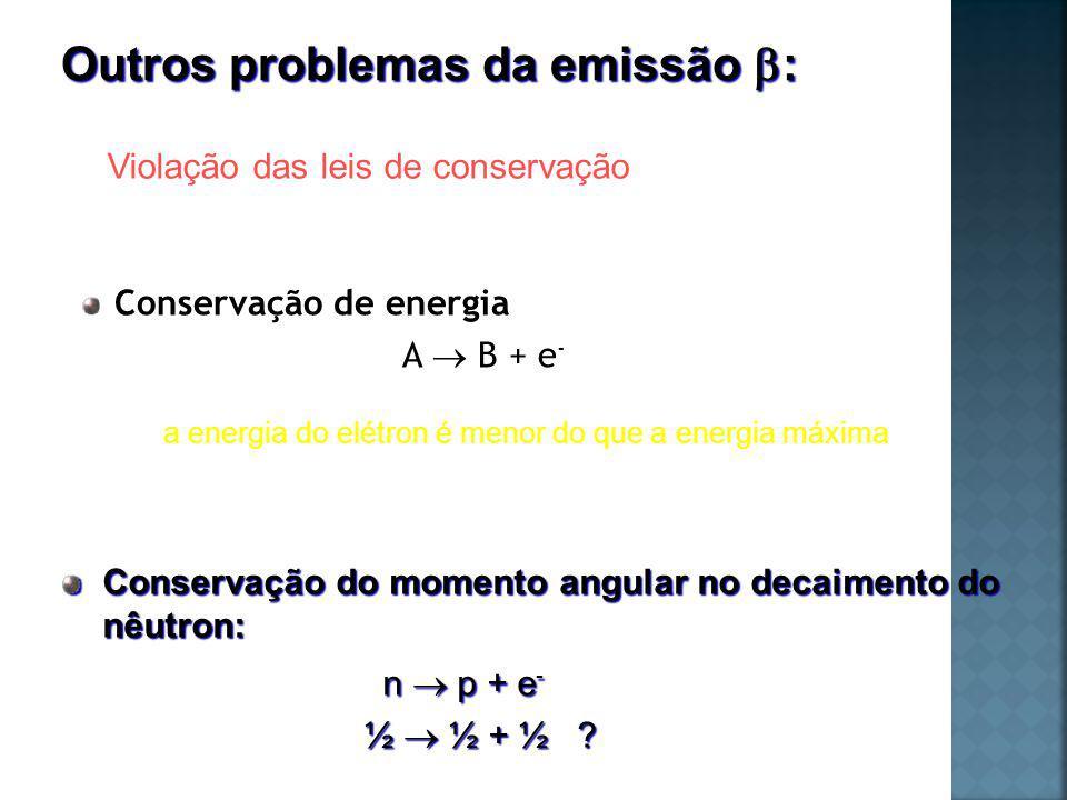 Conservação de energia A B + e - Conservação do momento angular no decaimento do nêutron: n p + e - ½ ½ + ½ .