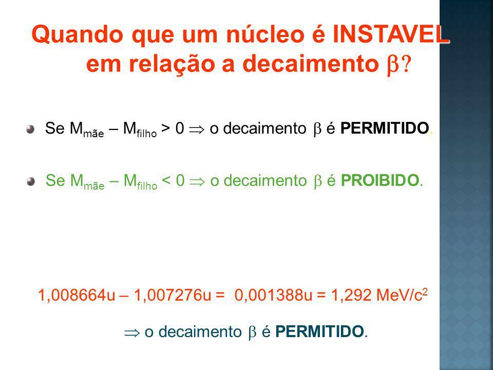 Quando que um núcleo é INSTAVEL em relação a decaimento Quando que um núcleo é INSTAVEL em relação a decaimento Se M mãe – M filho > 0 o decaimento é PERMITIDO.
