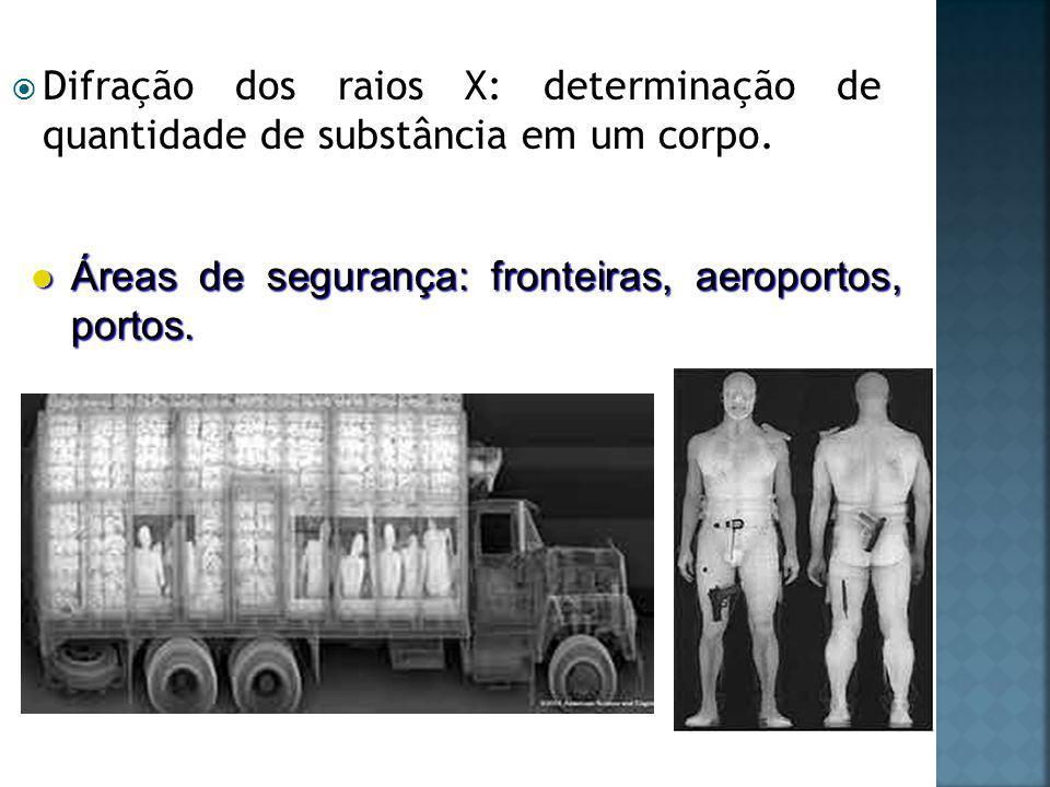 Difração dos raios X: determinação de quantidade de substância em um corpo.