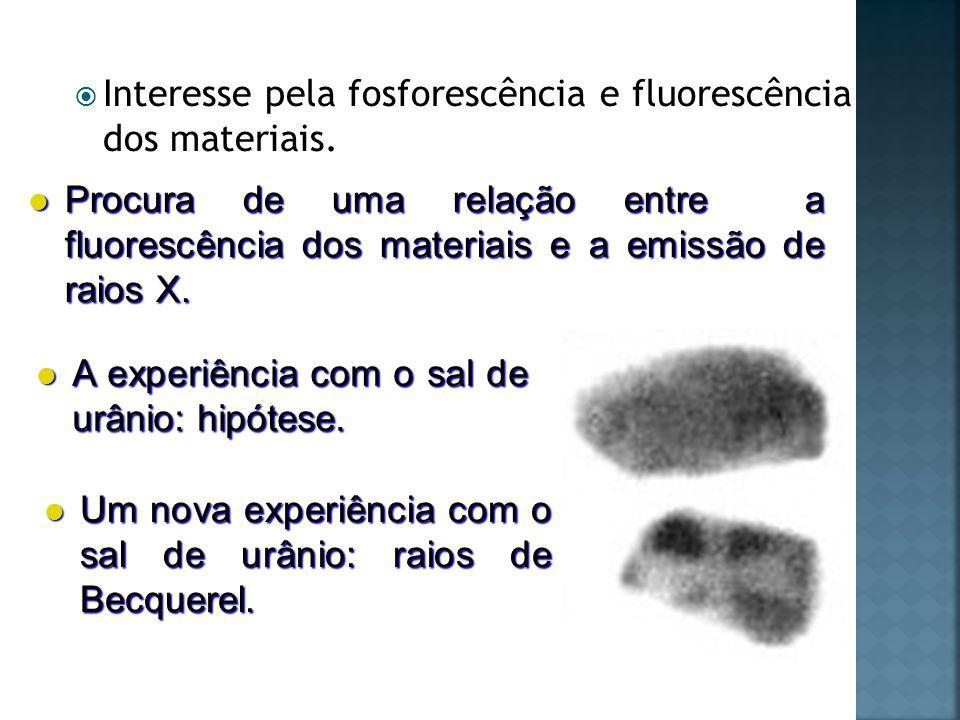 Interesse pela fosforescência e fluorescência dos materiais.