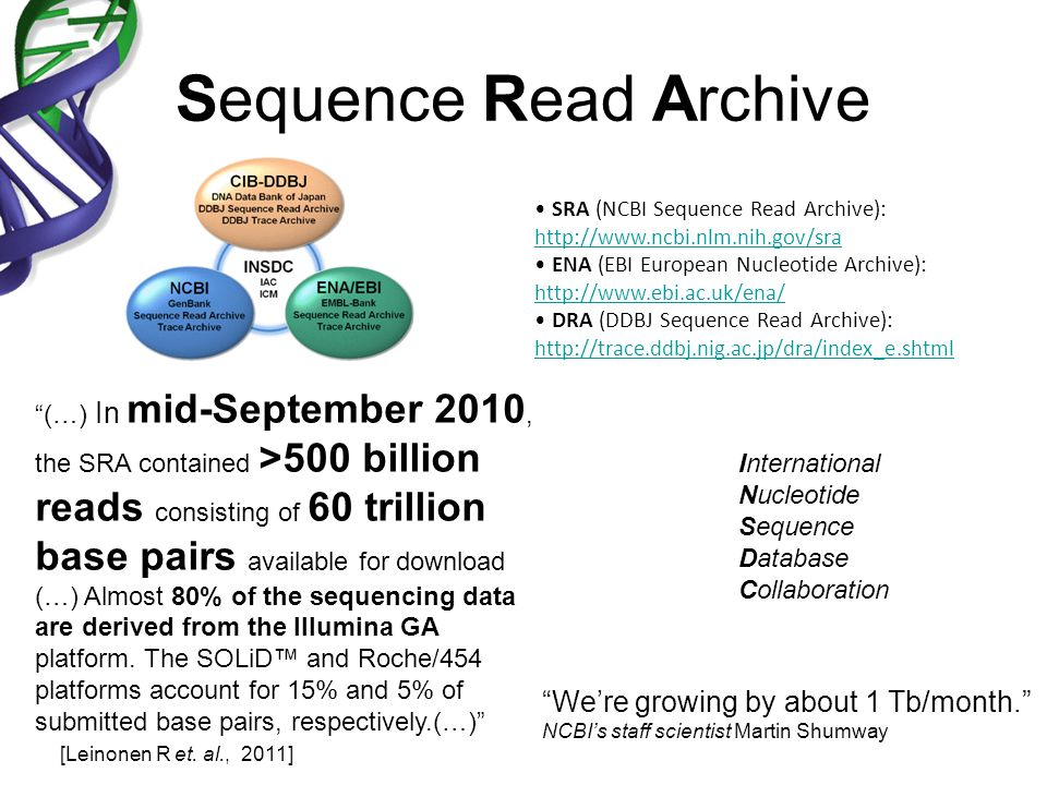 Sequence Read Archive (…) In mid-September 2010, the SRA contained >500 billion reads consisting of 60 trillion base pairs available for download (…)