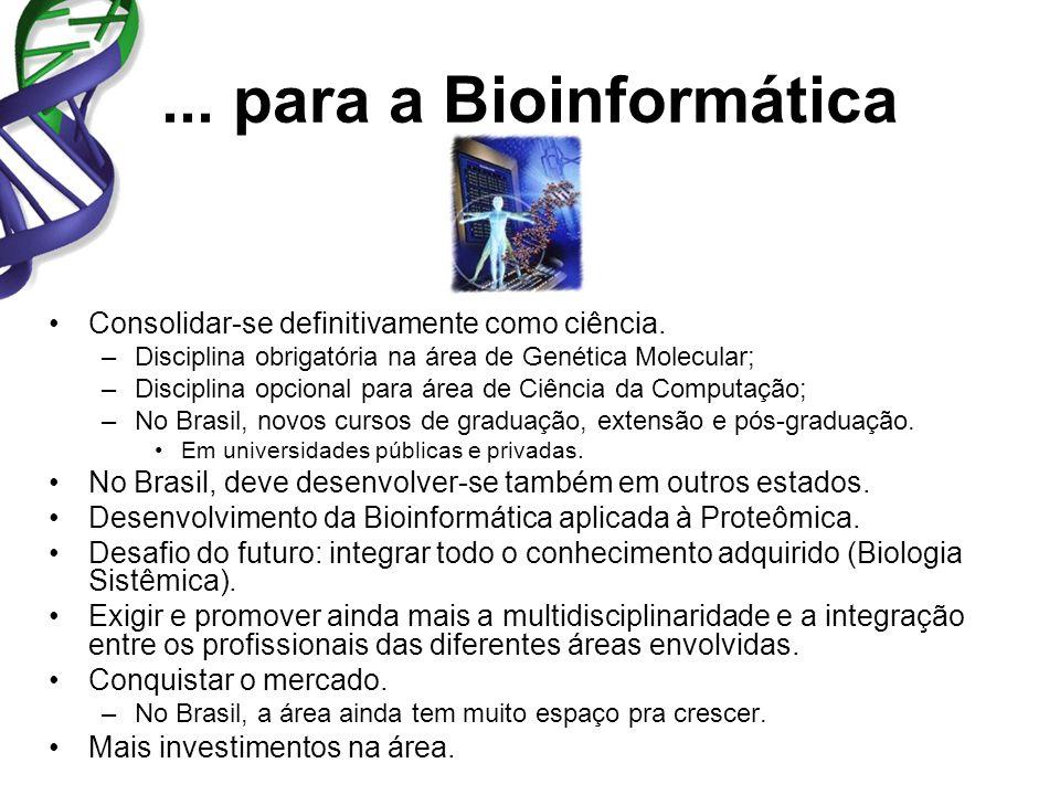 ... para a Bioinformática Consolidar-se definitivamente como ciência. –Disciplina obrigatória na área de Genética Molecular; –Disciplina opcional para