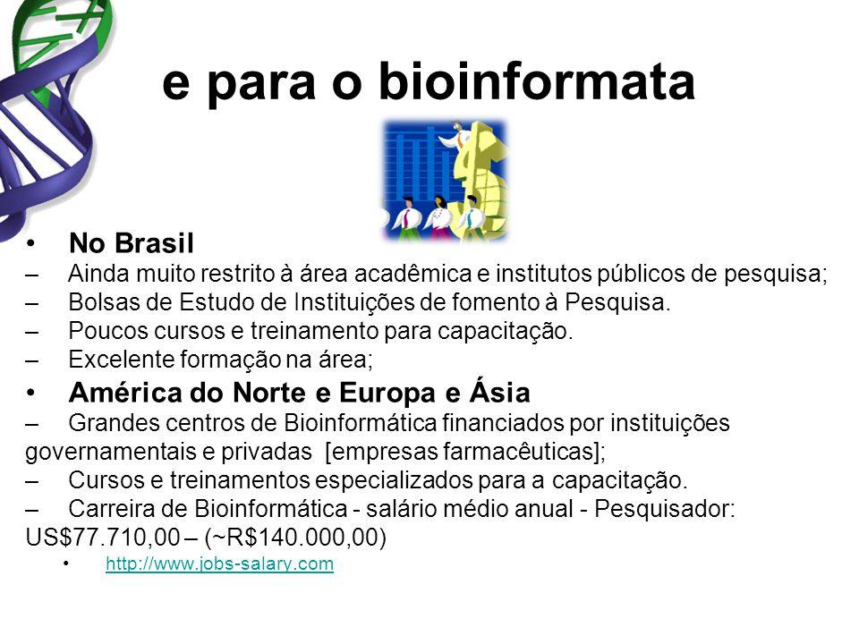 e para o bioinformata No Brasil –Ainda muito restrito à área acadêmica e institutos públicos de pesquisa; –Bolsas de Estudo de Instituições de fomento