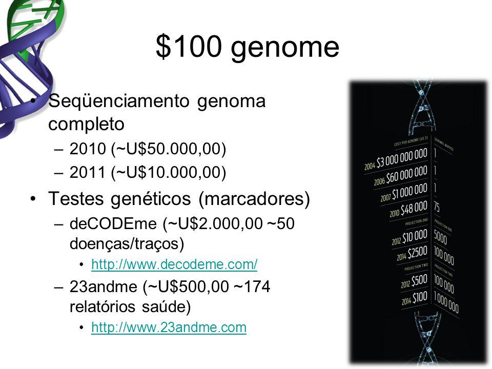 $100 genome Seqüenciamento genoma completo –2010 (~U$50.000,00) –2011 (~U$10.000,00) Testes genéticos (marcadores) –deCODEme (~U$2.000,00 ~50 doenças/traços) http://www.decodeme.com/ –23andme (~U$500,00 ~174 relatórios saúde) http://www.23andme.com