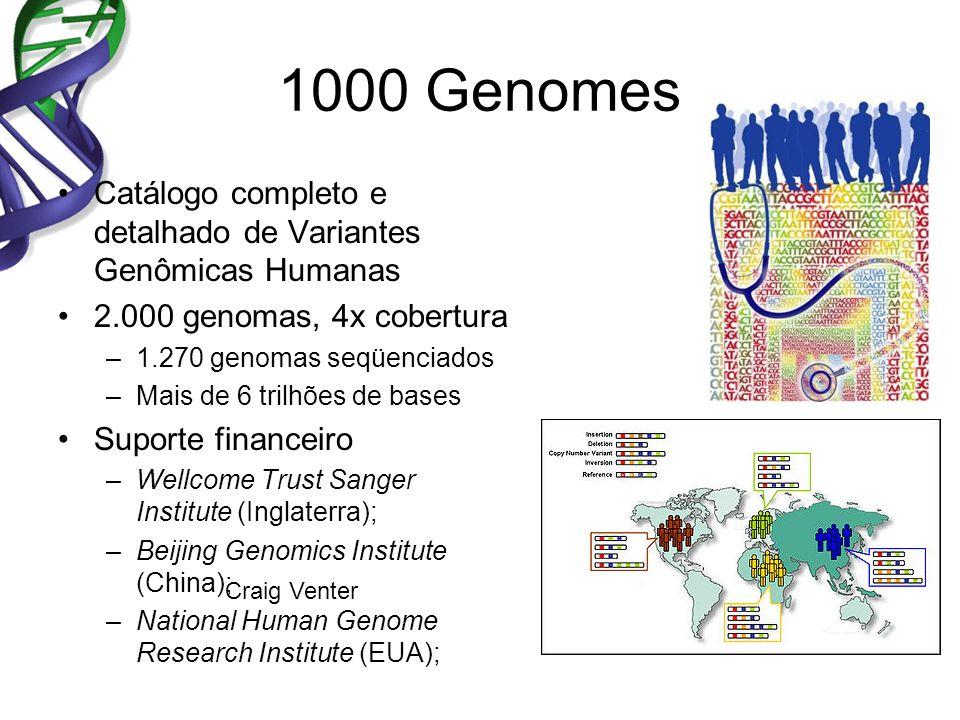1000 Genomes Catálogo completo e detalhado de Variantes Genômicas Humanas 2.000 genomas, 4x cobertura –1.270 genomas seqüenciados –Mais de 6 trilhões de bases Suporte financeiro –Wellcome Trust Sanger Institute (Inglaterra); –Beijing Genomics Institute (China); –National Human Genome Research Institute (EUA); Craig Venter