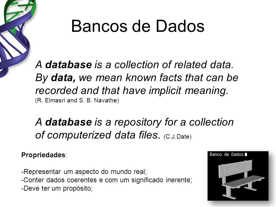 Bancos de Dados Propriedades: -Representar um aspecto do mundo real; -Conter dados coerentes e com um significado inerente; -Deve ter um propósito; A database is a repository for a collection of computerized data files.