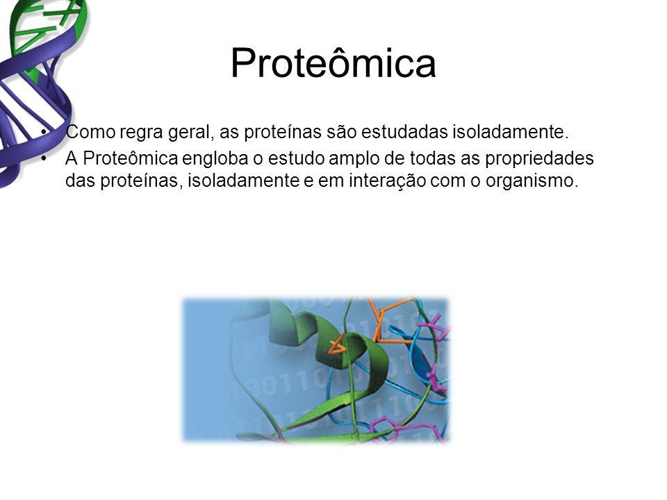 Proteômica Como regra geral, as proteínas são estudadas isoladamente. A Proteômica engloba o estudo amplo de todas as propriedades das proteínas, isol
