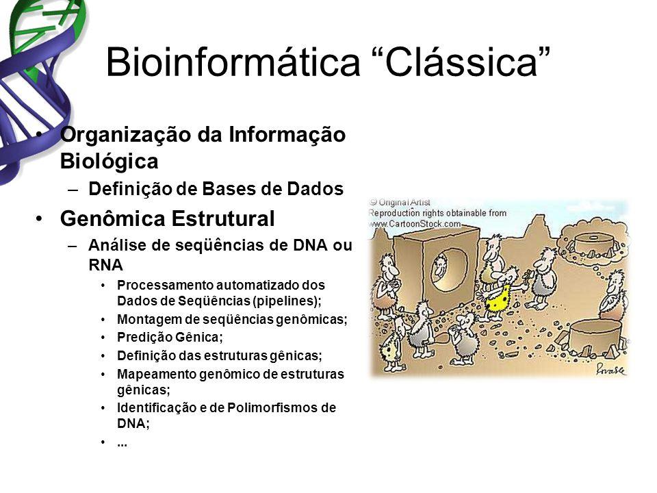 Bioinformática Clássica Organização da Informação Biológica –Definição de Bases de Dados Genômica Estrutural –Análise de seqüências de DNA ou RNA Processamento automatizado dos Dados de Seqüências (pipelines); Montagem de seqüências genômicas; Predição Gênica; Definição das estruturas gênicas; Mapeamento genômico de estruturas gênicas; Identificação e de Polimorfismos de DNA;...