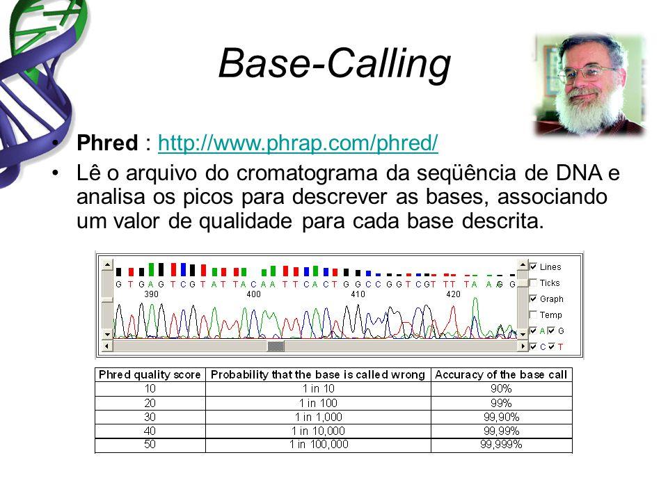 Base-Calling Phred : http://www.phrap.com/phred/http://www.phrap.com/phred/ Lê o arquivo do cromatograma da seqüência de DNA e analisa os picos para descrever as bases, associando um valor de qualidade para cada base descrita.