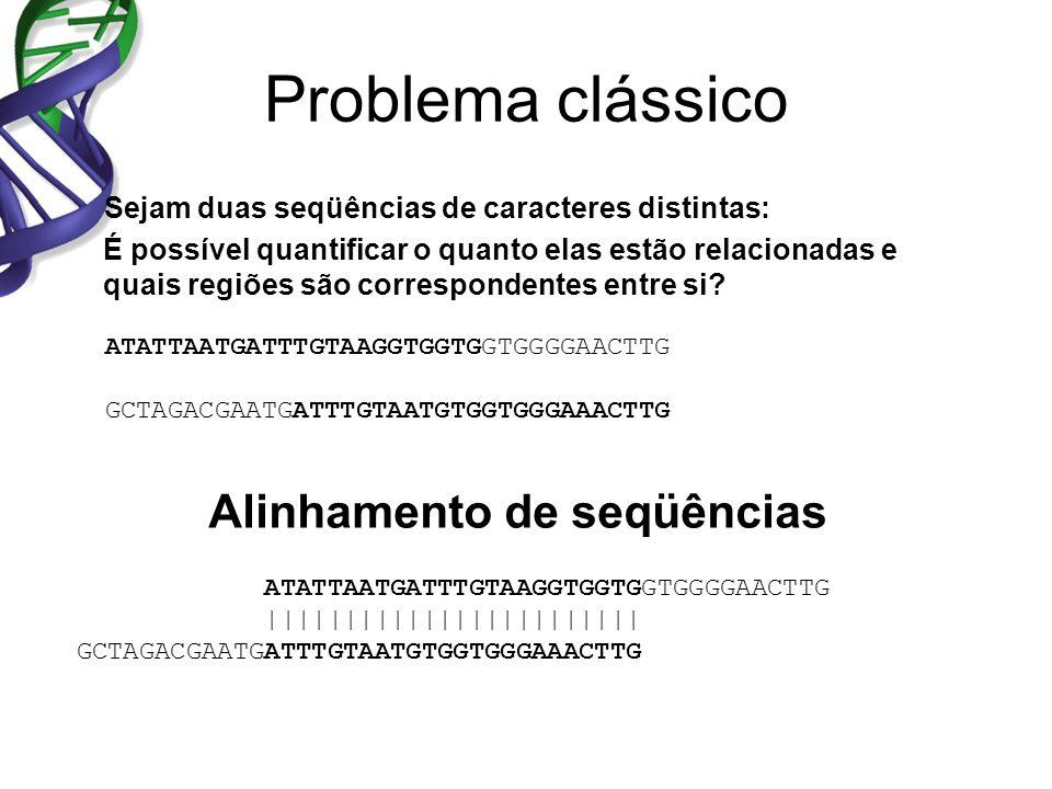 Problema clássico Sejam duas seqüências de caracteres distintas: É possível quantificar o quanto elas estão relacionadas e quais regiões são correspondentes entre si.