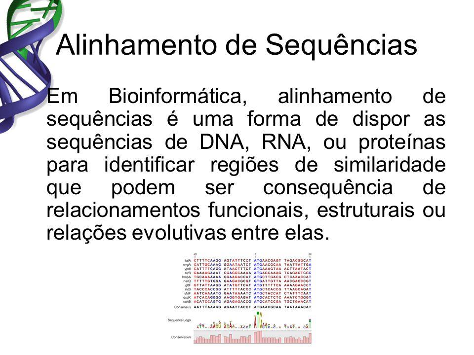 Alinhamento de Sequências Em Bioinformática, alinhamento de sequências é uma forma de dispor as sequências de DNA, RNA, ou proteínas para identificar regiões de similaridade que podem ser consequência de relacionamentos funcionais, estruturais ou relações evolutivas entre elas.
