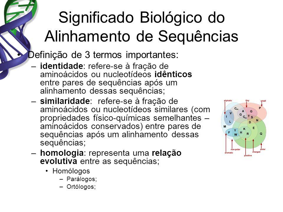 Significado Biológico do Alinhamento de Sequências Definição de 3 termos importantes: –identidade: refere-se à fração de aminoácidos ou nucleotídeos idênticos entre pares de sequências após um alinhamento dessas sequências; –similaridade: refere-se à fração de aminoácidos ou nucleotídeos similares (com propriedades físico-químicas semelhantes – aminoácidos conservados) entre pares de sequências após um alinhamento dessas sequências; –homologia: representa uma relação evolutiva entre as sequências; Homólogos –Parálogos; –Ortólogos;