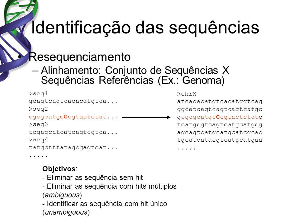 Identificação das sequências Resequenciamento –Alinhamento: Conjunto de Sequências X Sequências Referências (Ex.: Genoma) >seq1 gcagtcagtcacacatgtca..