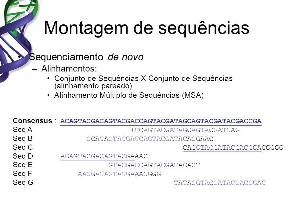 Montagem de sequências Sequenciamento de novo –Alinhamentos: Conjunto de Sequências X Conjunto de Sequências (alinhamento pareado) Alinhamento Múltipl