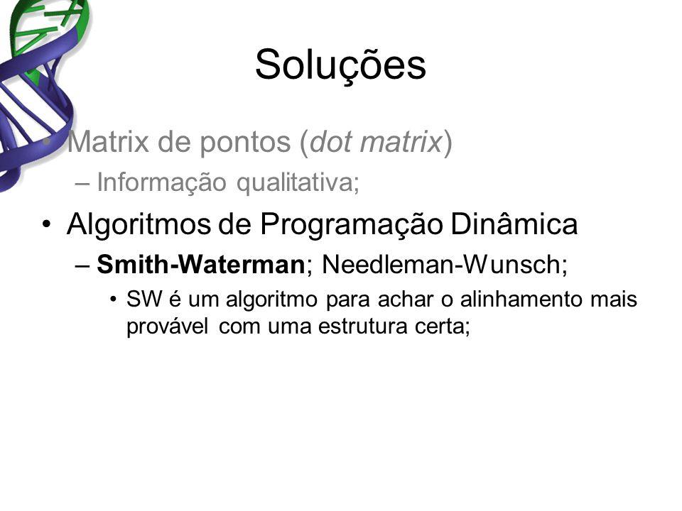 Soluções Matrix de pontos (dot matrix) –Informação qualitativa; Algoritmos de Programação Dinâmica –Smith-Waterman; Needleman-Wunsch; SW é um algoritmo para achar o alinhamento mais provável com uma estrutura certa;