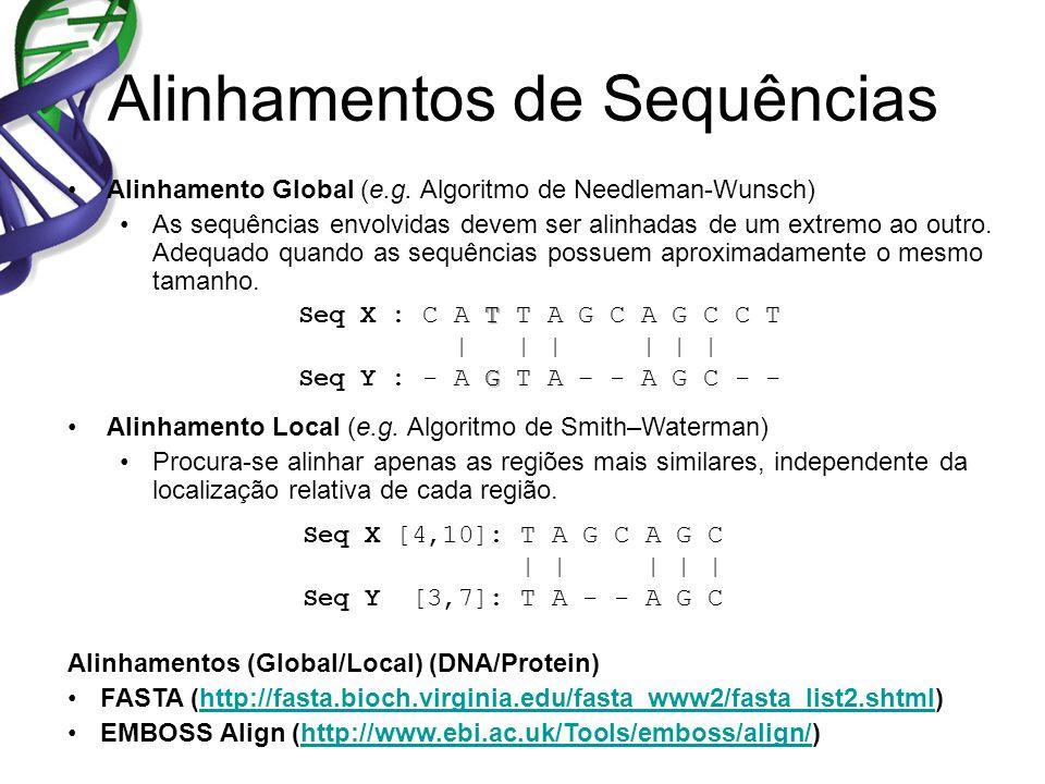 Alinhamentos de Sequências Alinhamento Global (e.g. Algoritmo de Needleman-Wunsch) As sequências envolvidas devem ser alinhadas de um extremo ao outro