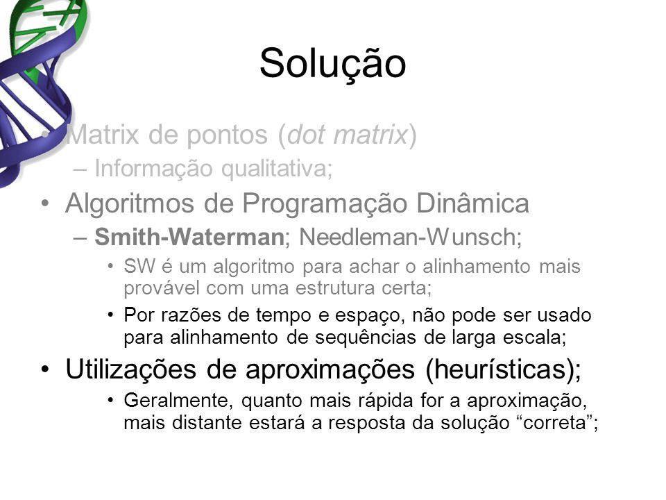 Solução Matrix de pontos (dot matrix) –Informação qualitativa; Algoritmos de Programação Dinâmica –Smith-Waterman; Needleman-Wunsch; SW é um algoritmo