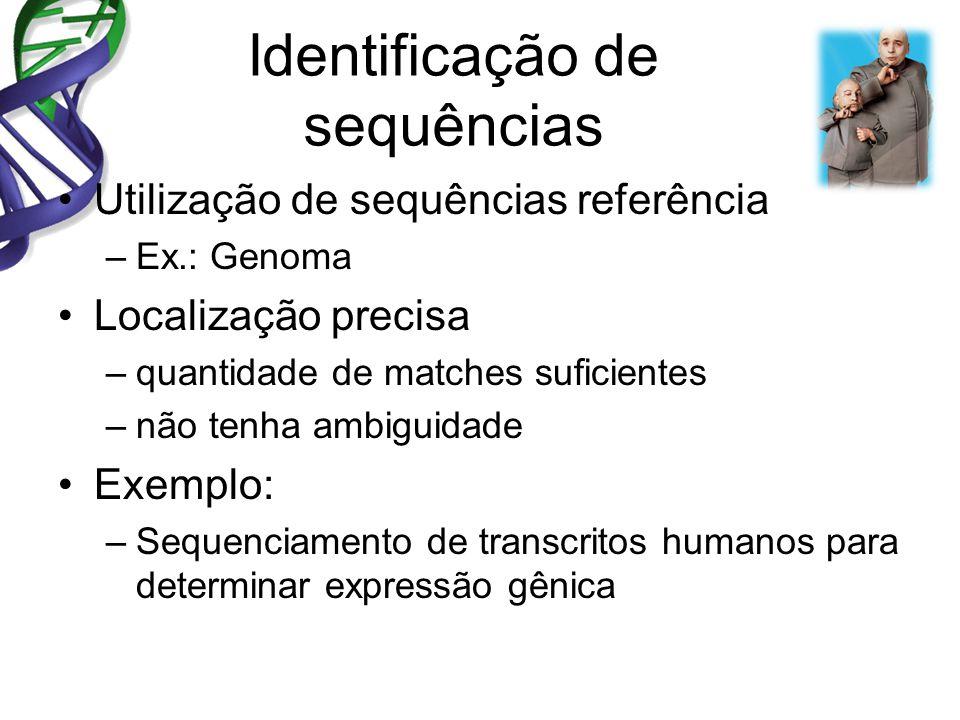 Identificação de sequências Utilização de sequências referência –Ex.: Genoma Localização precisa –quantidade de matches suficientes –não tenha ambiguidade Exemplo: –Sequenciamento de transcritos humanos para determinar expressão gênica