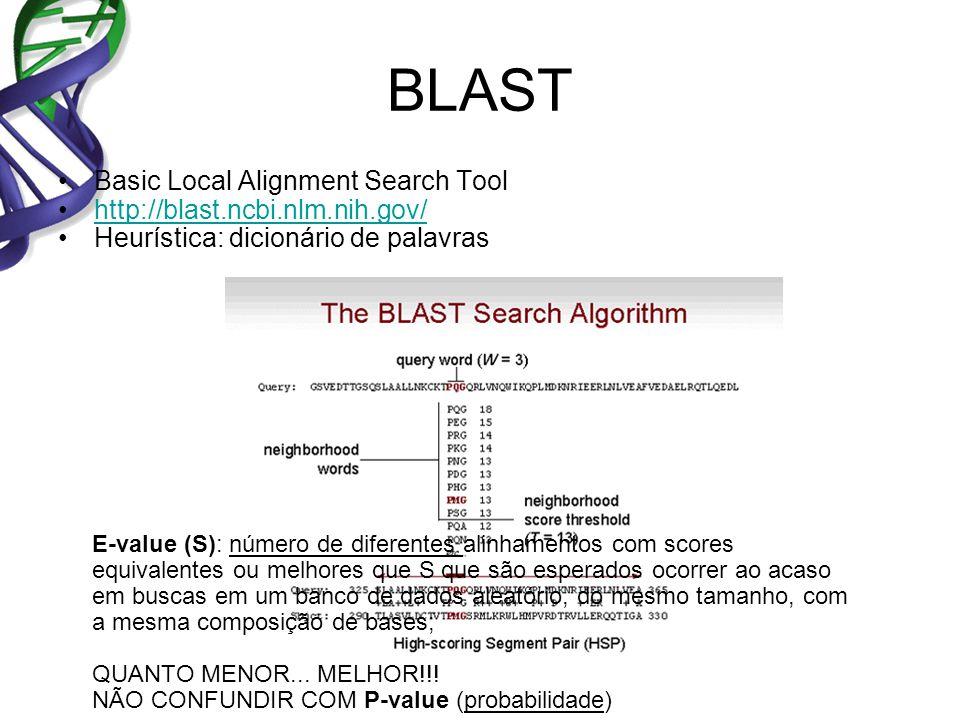 BLAST Basic Local Alignment Search Tool http://blast.ncbi.nlm.nih.gov/ Heurística: dicionário de palavras E-value (S): número de diferentes alinhamentos com scores equivalentes ou melhores que S que são esperados ocorrer ao acaso em buscas em um banco de dados aleatório, do mesmo tamanho, com a mesma composição de bases; QUANTO MENOR...