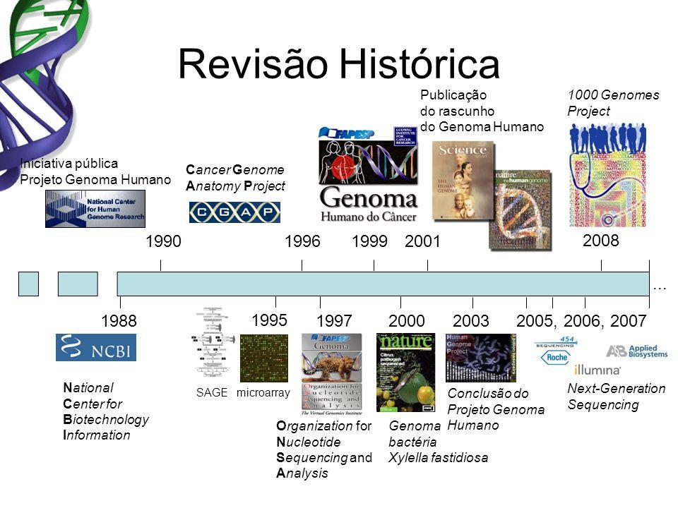 Revisão Histórica Iniciativa pública Projeto Genoma Humano Publicação do rascunho do Genoma Humano 19902001 2000 Genoma bactéria Xylella fastidiosa 19