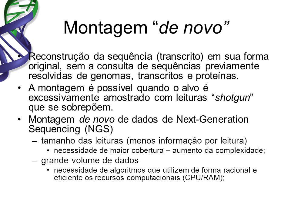 Montagem de novo Reconstrução da sequência (transcrito) em sua forma original, sem a consulta de sequências previamente resolvidas de genomas, transcritos e proteínas.