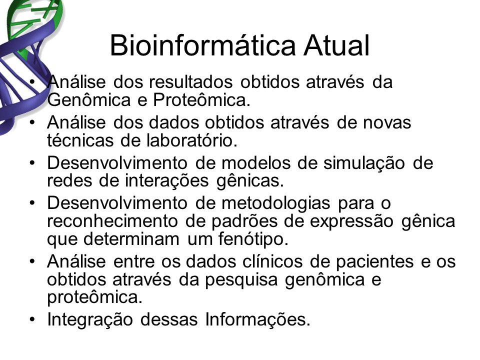 Bioinformática Atual Análise dos resultados obtidos através da Genômica e Proteômica. Análise dos dados obtidos através de novas técnicas de laboratór