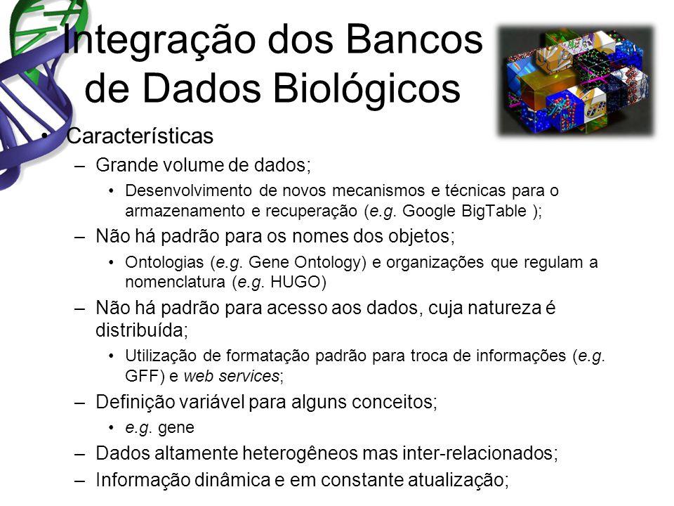 Integração dos Bancos de Dados Biológicos Características –Grande volume de dados; Desenvolvimento de novos mecanismos e técnicas para o armazenamento e recuperação (e.g.