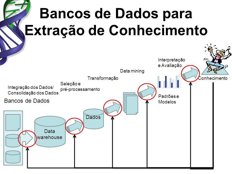 Bancos de Dados para Extração de Conhecimento Data warehouse Bancos de Dados Integração dos Dados/ Consolidação dos Dados Seleção e pré-processamento Data mining Dados Padrões e Modelos ConhecimentoTransformação Interpretação e Avaliação