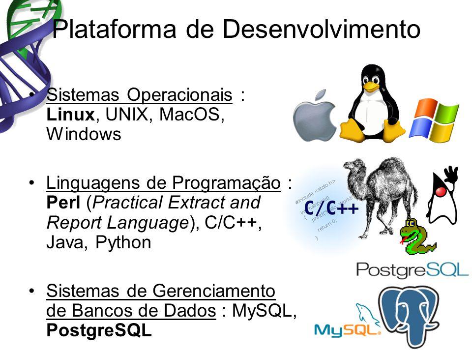Plataforma de Desenvolvimento Sistemas Operacionais : Linux, UNIX, MacOS, Windows Linguagens de Programação : Perl (Practical Extract and Report Language), C/C++, Java, Python Sistemas de Gerenciamento de Bancos de Dados : MySQL, PostgreSQL