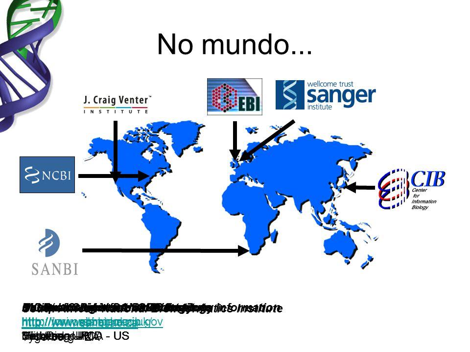 No mundo... National Center for Biotechnology Information http://www.ncbi.nlm.nih.gov Bethesda – MD - US European Bioinformatics Institute http://www.